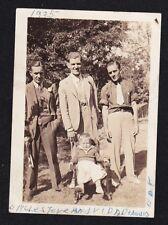 Vintage Antique Photograph Three Men in Yard w/ Little Boy Sitting in Chair