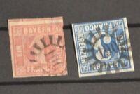 Bayern 1 Kreuzer rosa (3) + 3 Kreuzer blau (2 II) mit gMR 190 Ludwigshafen