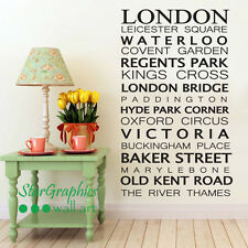 Famous London Places Quote Wall Art Vinyl Decal Sticker Office Home Decoration
