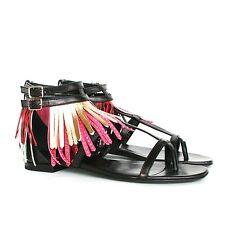 SAINT LAURENT $995 studded leather metallic fringe shoes buckle sandals 37 NEW