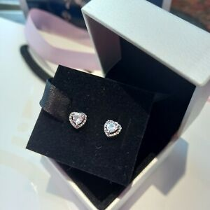 PANDORA EARRINGS   NEW  AUTHENTIC  BOX + BAG    925 silver  ALE   bag and box