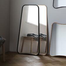 "Kurva Large Black Curved Rustic Aged Metal Frame Leaner Wall Floor Mirror 48x22"""