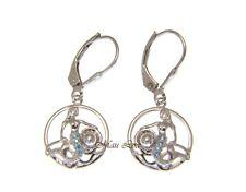 Mermaid Pearl Shell Leverback Earrings 925 Sterling Silver Blue Topaz Hawaiian