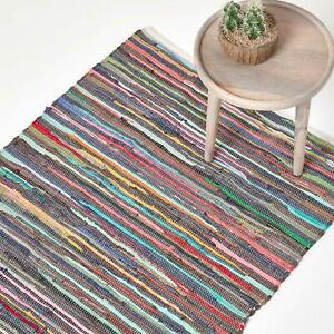 Handmade Indian Chindi Rag Rug 100% Recycled Cotton Large Small Woven Floor Mat