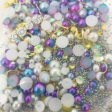 All in One Mermaid Nail Art Set Pearls Caviar Beads Gold Charms Crystals w/ Jar