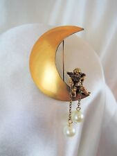 "RARE vintage signed ""JOSEFF"" CHERUB ON MOON DANGLING PEARLS WHIMSICAL BROOCH*WOW"