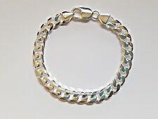 NEW Genuine Solid 925 Sterling Silver Bevelled Curb Diamond Cut Unisex Bracelet