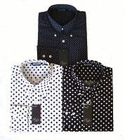 Relco Mens Polka Dot Pin Dot Long Sleeved Button Collar Blue Black White Shirt