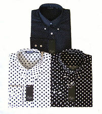 Relco Mens Polka Dot Pin Dot Long Sleeved Button Collar Blue Black White Shirt
