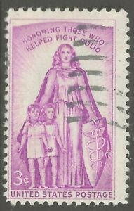 "U.S. #1087 1957 3¢ ""Honoring Those Who Helped Fight Polio"" SHOEPRINT KILLER ULH"