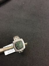 Silver Ring With Green Diamonds