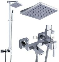 Bathroom Modern Chrome Square Rain Shower Mixer Valve Tub Set with Hand Spray