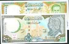 SYRIA LOT  500-1000  POUNDS . P 110-P 111 . UNC. 1bv9