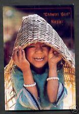 Laughing Chhetri Girl Straw Hat Himalaya Nepal