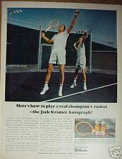 Jack Kramer~Wilson Autograph Wood Tennis Racket~1966~ Print Ad