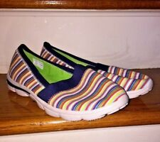 Lands End Canvas Rainbow Stripe Loafers Mary Janes Flat Slide Womens Shoes SZ 10