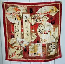 "TERRIART Asian Scenes, Words, Patterns, Burgundy Red Border 35"" Sq Scarf-Vintage"