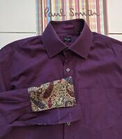 """PAUL SMITH Men's SHIRT 15""""  Collar - Good Condition. Floral Double Cuffs"""