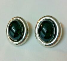 Vintage Sterling Silver and Onyx Clip-On Earrings Mexico signed