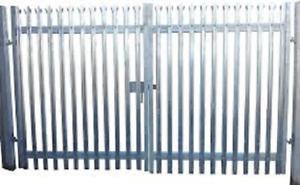1.8m high x 3mtr Wide Double Leaf Palisade gate c/w. SHS Gateposts - Galvanised