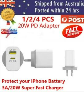 AU Plug PD 20W USB-C Type C Fast Wall Charger Adapter For iPhone 12 11 Pro Max