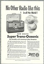 1951 ZENITH TRANS-OCEANIC Radio advertisement Trans-Oceanic shortwave radio H500