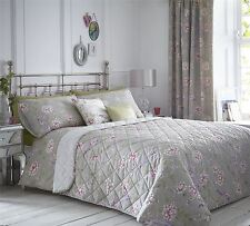 ORIENTAL BIRDS FLORAL PINK PURPLE TAUPE QUILTED BEDSPREAD THROW 229X195CM