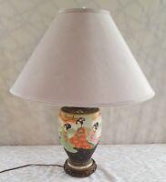 Vintage Japanese Satsuma Moriage Vase Lamp Hand Painted Ceramic Enamel Fixtures