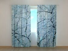 Window Curtain Printed with Frosty Branches image Wellmira Made to Measure