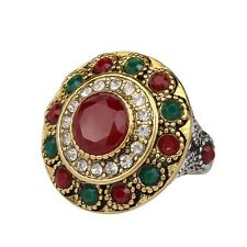 Beautiful Small Green Red Round Rhinestone Gold Plated Lady Girl Rings Jewelry