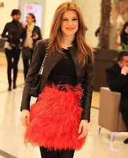 Rare! ZARA Red Orange Ostrich Feather Skirt Small S * Last In Stock *