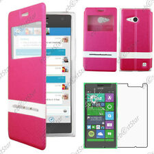 Housse Coque Etui S-View Flip Cover Rose Nokia Lumia 735 730 dual + Verre