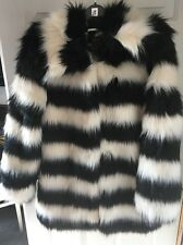 Black/white Fake Fur Coat Size 12