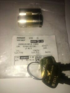 Sargent Assa Abloy 6300 Classic Keyway LF SFIC Removeable Core with Two Keys