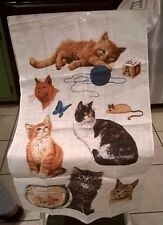 """Vintage Beige Linen Cloth of Cats and Friends 26 1/2"""" X 16 1/2"""""""