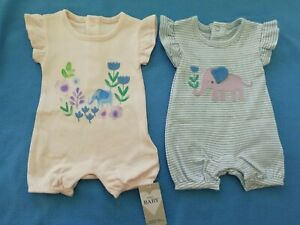 M&S Baby Girls Up to 1 Month 9 lb 14 oz Romper Playsuit Elephants