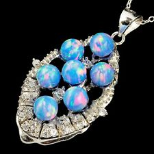 Alducchi Sky Blue Rainbow Fire Lab Opal - CZ .925  Silver Pendant necklace