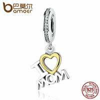 Bamoer European S925 Sterling Silver Charm I Love MoM with Clear cz fit Bracelet
