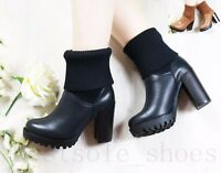 LADIES WOMEN' ANKLE BOOTS CHUNKY BLOCK HIGH HEEL PLATFORM BOOTS WORK SHOES SIZE