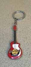 """Hard Rock Cafe Brussels Red White Double Sided Guitar Keychain - 3"""""""