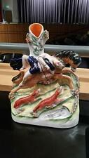 ANTIQUE STAFFORDSHIRE SPILL VASE man on horse with hunting dogs Mazeppa