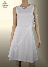 IVANKA TRUMP Women Dress Sze 12 IVORY OFF-WHITE Knee METAL ACCT Sleeveless LBCUS
