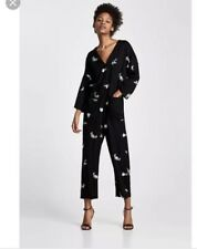 ZARA NEW SS 2018 EMBROIDERED FLORAL JUMPSUIT BLACK SIZE SMALL