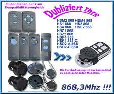 868Mhz Emisor Manual Compatible con Hörmann Puerta Garaje HSM2 HSM 4 HS1 Hsz HS2