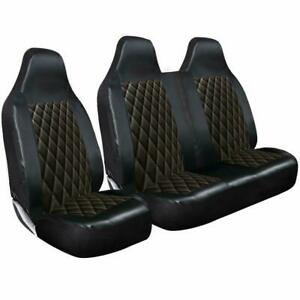 FOR NISSAN NV400 2011 ON - BLACK QUILTED LEATHER VAN SEAT COVERS SINGLE DOUBLE