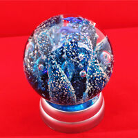 "2.15LB 3.65"" Blue Sea coral Art Glass Ball noctilucence Paperweight With Base 4#"
