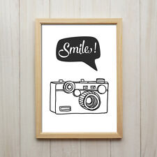 Smile Kamera Kunstdruck Poster A4 Abstrakt Schwarz Weiß Retro Vintage Wandbild