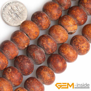 """Natural 10x14mm Wood Texture Agate Gemstone Rondelle Spacer Loose Beads 15"""" YB"""