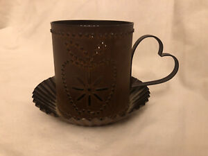 """CUTE Tealight Candle Holder Apple Heart Punched Weathered Brown Tin 3"""""""