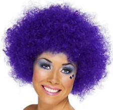 Ladies Purple Afro Wig 70'S Retro Disco Diva Clown Halloween Fancy Dress